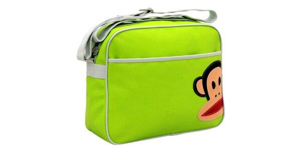 Svetlo zelená taška s bielym popruhom Paul Frank