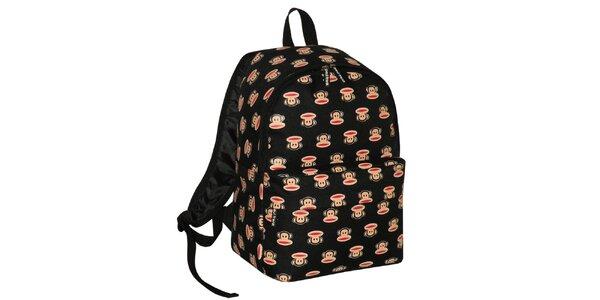 Čierny ruksak s opičiakmi Paul Frank
