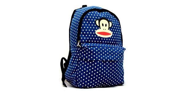 Modrý ruksak s bielymi bodkami Paul Frank