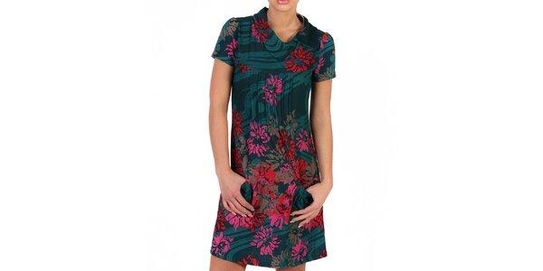 Dámske tmavo zelené šaty s farebnými kvetmi Pepper Tree