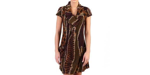 Dámske hnedé šaty s divokým vzorom Pepper Tree