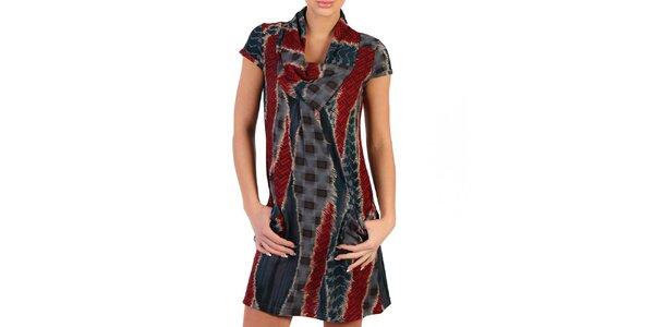 Dámske šedo-červené šaty so vzorom Pepper Tree
