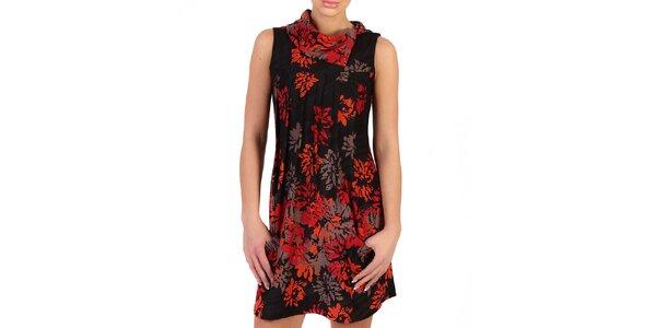 Dámske čierne šaty s ohnivými kvetmi Pepper Tree
