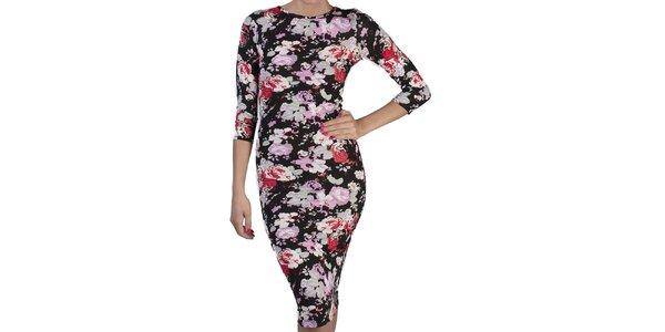 Dámske čierne kvetované šaty s polodlhým rukávom Pepper Tree