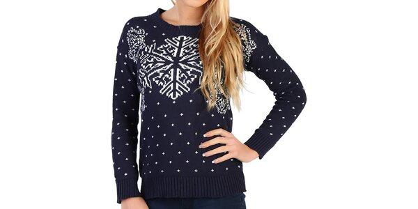 Dámsky tmavo modrý sveter s vločkami Pepper Tree