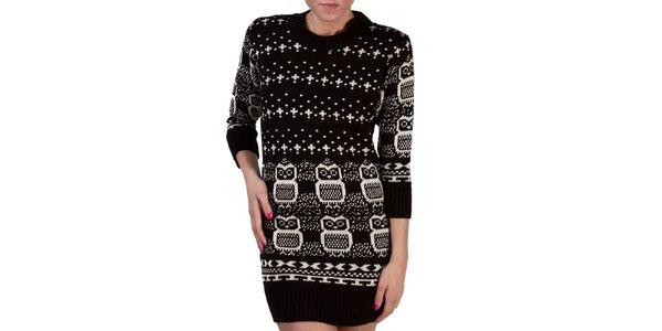 Dámsky čierny dlhý sveter so sovami Pepper Tree