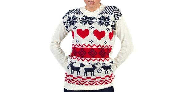 Dámsky biely sveter s farebným nórskym vzorom Pepper Tree