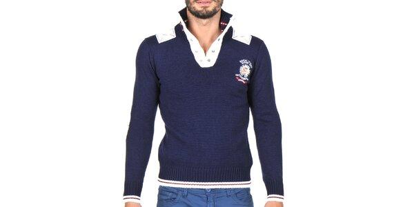 Pánsky tmavo modrý sveter s bielymi lemami Giorgio di Mare