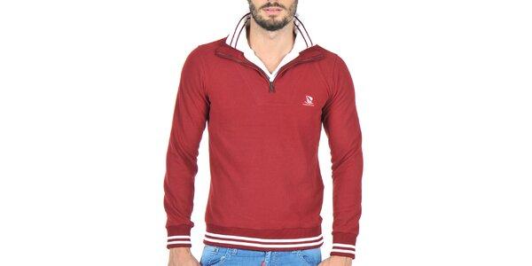 Pánsky sveter so stojáčikom vo farbe bordó Giorgio Di Mare