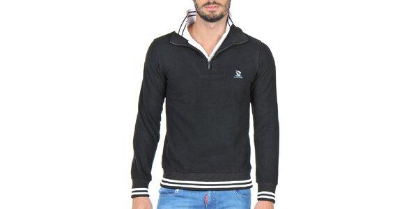 Pánsky sveter so stojáčikom v čiernej farbe Giorgio di Mare