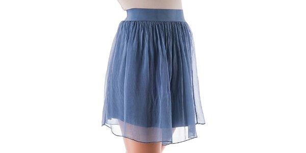 Dámska krátka modrá hodvábna sukňa Keysha