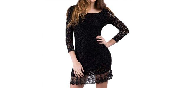 Dámske čierne šaty s čipkou Keysha