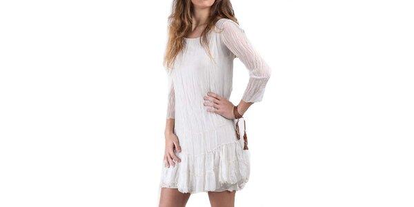 Dámske krémovo biele hodvábne šaty Keysha