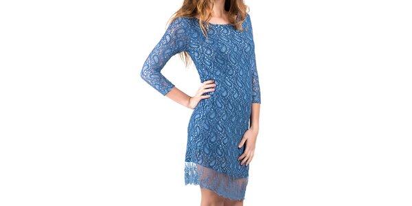 Dámske modré šaty s čipkou Keysha