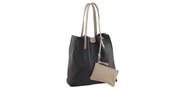 Dámska čierno-béžová nákupná taška s vreckom Valentina Italy