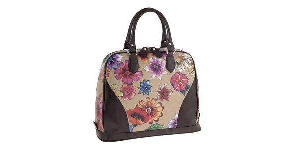 Dámska kožená kabelka s farebnou kvetinovou potlačou Valentina Italy