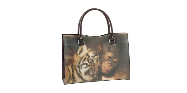 Dámska kabelka s potlačou tygra a opičky Valentina Italy
