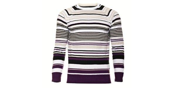 Pánsky svetlo fialový prúžkovaný sveter Timeout