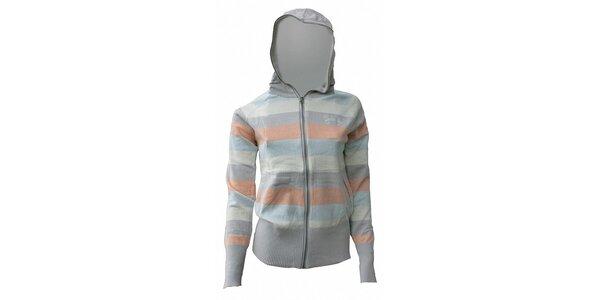 Dámsky svetlo sivý sveter Fundango s marhuľovými a svetlo modrými prúžkami