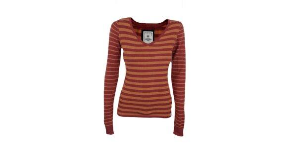 Dámsky červeno-oranžový pruhovaný sveter Timeout
