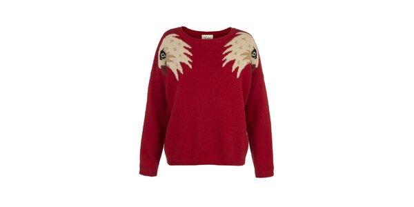 Dámsky červený sveter s orlími hlavami Yumi