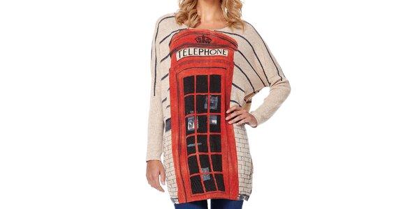 Dámsky béžový sveter s telefónnou búdkou Miss Jolie