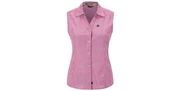 Dámska ružovo károvaná košeľa bez rukávov Maier