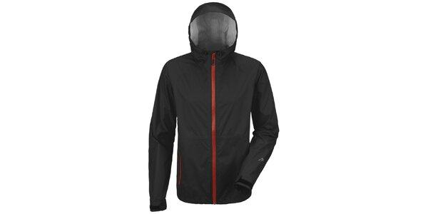 Pánska čierna bunda s červeným zipsom Maier