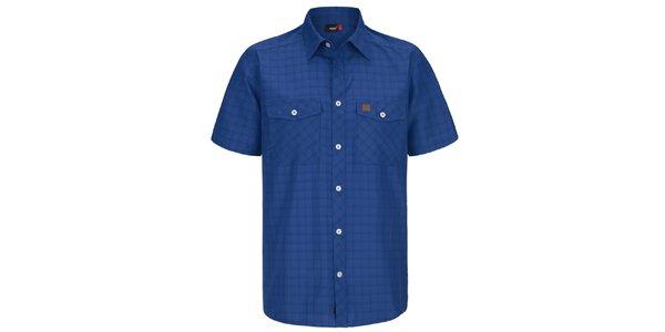 Pánska modrá kockovaná funkčná košeľa s krátkym rukávom Maier