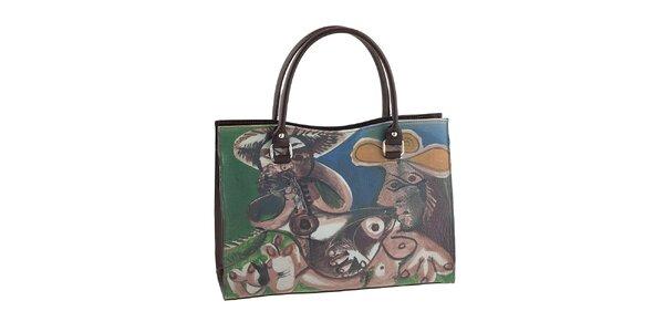 Dámska hnedá kabelka s farebným obrázkom Valentina Italy