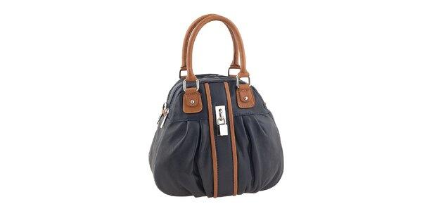 Dámska modrá kabelka s hnedými prvkami Valentina Italy