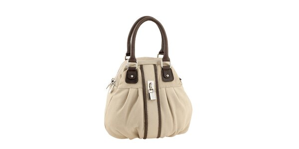 Dámska béžová kabelka s tmavými detailmi Valentina Italy