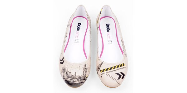 Dámske krémové balerínky Dogo s motívom Londýna
