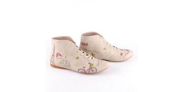 Dámske krémové topánky s farebnou potlačou Paríža Dogo