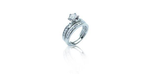 Dámska sada zásnubného a snubného prsteňa so zirkónmi La Mimossa