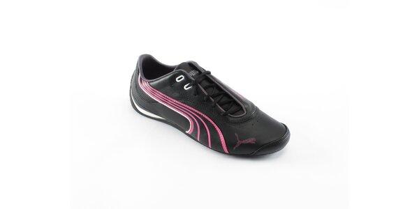 Dámske čierne tenisky Puma s ružovými detailami