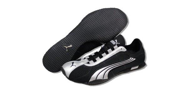 Dámske čierne bežecké tenisky Puma so striebornými detailmi