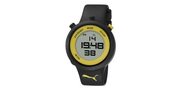 Čierno-žlté digitálne hodinky Puma