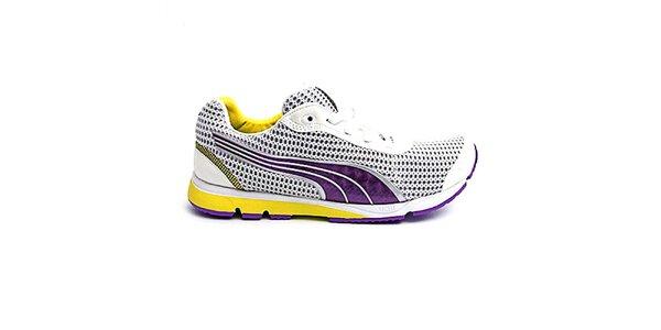 Dámske bielo-fialovo-žlté topánky na beh Puma