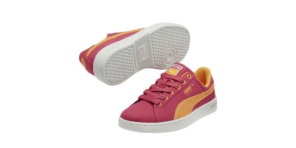 Detské ružovo-žlté tenisky Puma