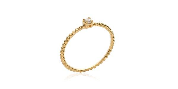 Jednoduchý pozlátený prsteň s bielym zirkónom Mimossa