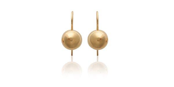 Dámske zlaté perličkové visiace náušnice La Mimossa