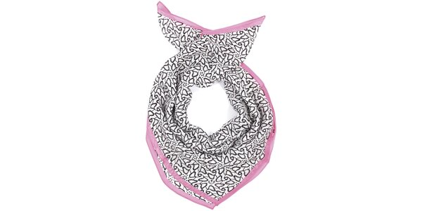 Dámska vzorovaná bielo-čierno-ružová šatka Fraas