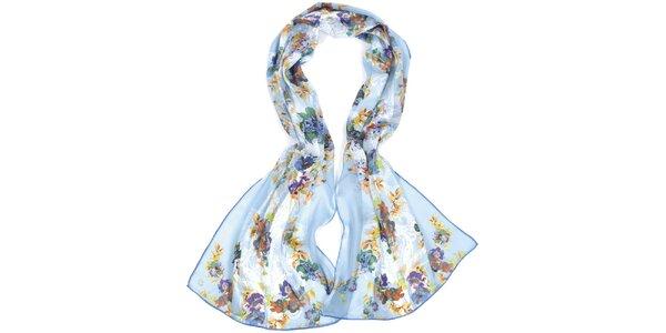 Dámska modrá šatka s kvetmi Fraas