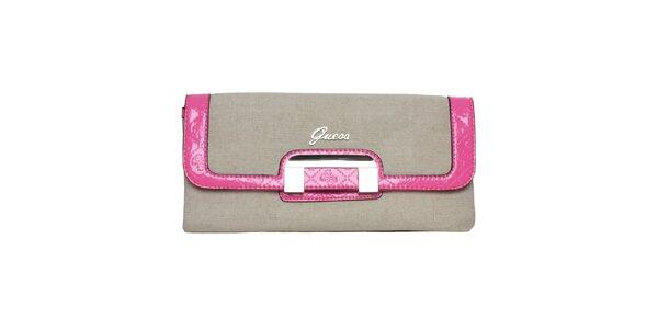 Dámska šedá listová kabelka s ružovými lemami Guess