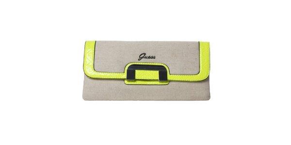 Dámska šedá listová kabelka s neónovými lemami Guess