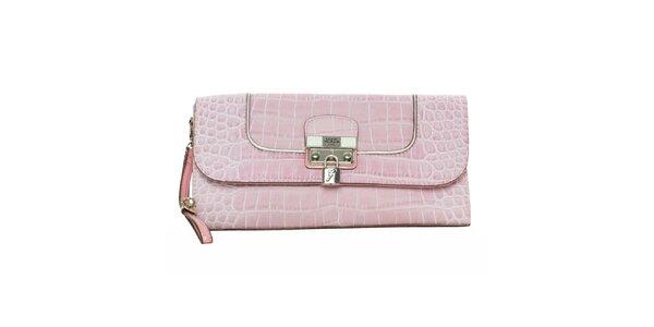 Dámska ružová krokodília listová kabelka Guess