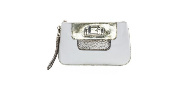 Dámska biela listová kabelka so zlatými prvkami Guess