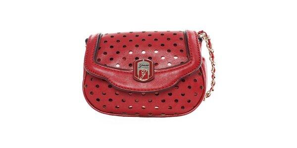 Dámska červená kabelka s dekoratívnou perforáciou Guess