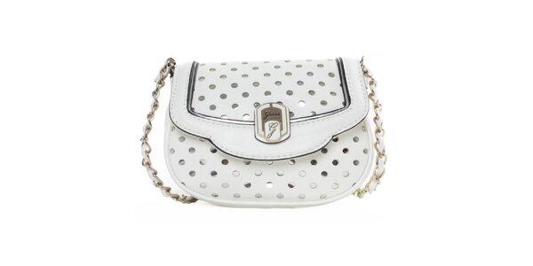 Dámska biela kabelka s dekoratívnou perforáciou Guess
